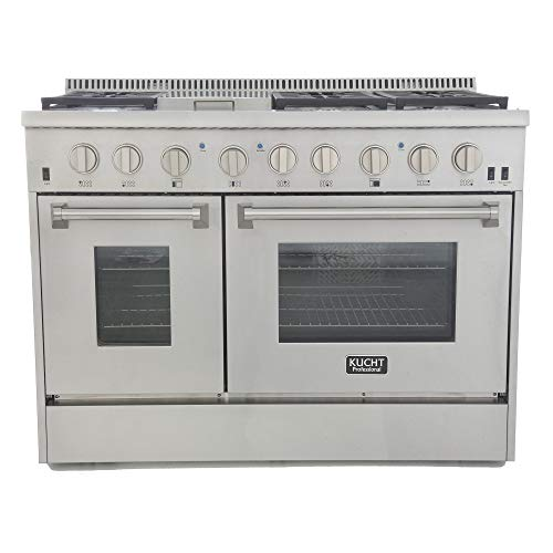 "Kucht KRD486F KRD486F-S Professional 48"" 6.7 cu. ft. Dual Fuel Range for Natural Gas, Stainless-Steel, Classic Silver"