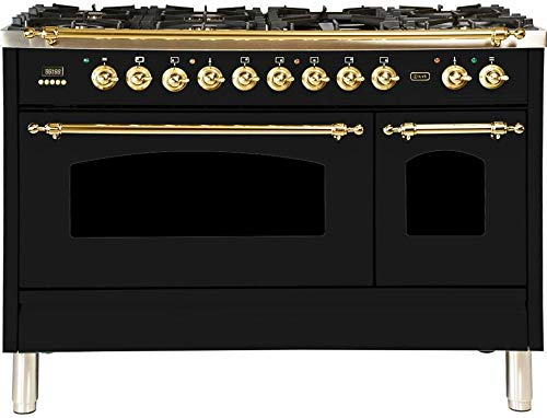 Ilve UPN120FDMPN Nostalgie Series 48 Inch Dual Fuel Convection Freestanding Range, 7 Sealed Brass Burners, 5 cu.ft. Total Oven Capacity in Glossy Black, Brass Trim (Natural Gas)