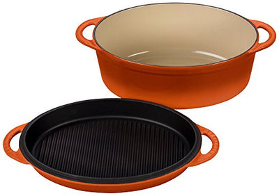 Le Creuset Cast Iron Oval Oven with Reversible Grill Pan Lid, 4 3/4 quart, Flame