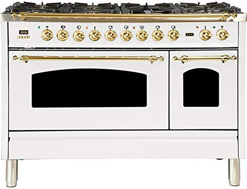 Ilve UPN120FDMPB Nostalgie Series 48 Inch Dual Fuel Convection Freestanding Range, 7 Sealed Brass Burners, 5 cu.ft. Total Oven Capacity in White, Brass Trim (Natural Gas)