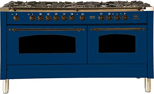 Ilve UPN150FDMPBLY Nostalgie Series 60 Inch Dual Fuel Convection Freestanding Range, 8 Sealed Brass Burners, 5.99 cu. ft. Total Oven Capacity in Blue, Bronze Trim (Natural Gas)