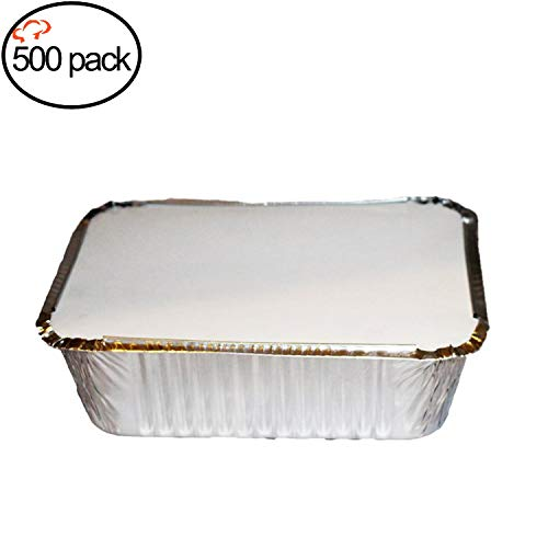 "Tiger Chef Oblong Aluminum Tin Foil 5 Pound Pans Dimensions: 9.63"" x 7.13"" x 2.75"" With Board Lids Disposable Freezer to Oven Safe for Takeout, Baking, Cooking, Storing and Freezing - 500 Pack"