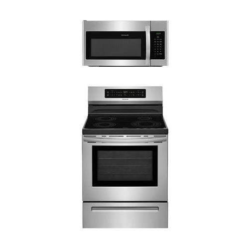 "Frigidaire 2-Piece Stainless Steel Kitchen Package with FFIF3054TS 30"" Freestanding Induction Range and FFMV1645TS 30"" Over-the-Range Microwave"