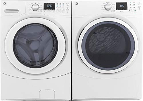 "GE Front Load Speed Wash GFW430SSMWW 27"" Washer with GFD43GSSMWW 27"" Gas Dryer Laundry Pair in White"