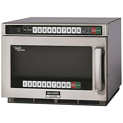 "Sharp R-CD1200M - Commercial Microwave Oven, TwinTouch, 1200W, S/S, 17-1/2""W x 22-9/16""H x 13-5/8""D, Lot of 1"