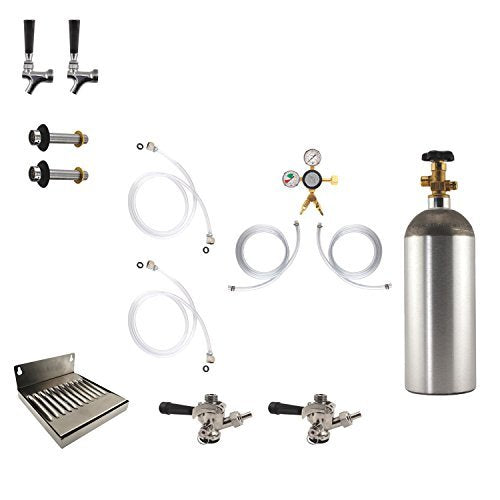 Two Tap Wall Mount Refrigerator Conversion Kit w/ 5# CO2 Tank