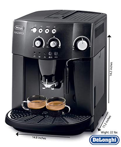 Delonghi super-automatic espresso coffee machine with an adjustable grinder, milk frother, maker for brewing espresso, cappuccino. ESAM4000 Magnifica