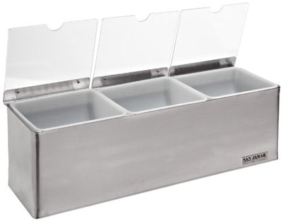 "San Jamar B6183INL EZ-Chill Stainless Steel Condiment Center with Individual Notched Lid, 18"" Width x 5-7/8"" Height x 5-3/8"" Depth"