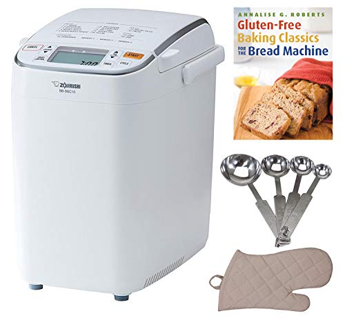 Zojirushi BB-SSC10 Home Bakery Maestro Breadmaker, Premium White Includes Bread Making Book, Measuring Spoon Set and Oven Mitt
