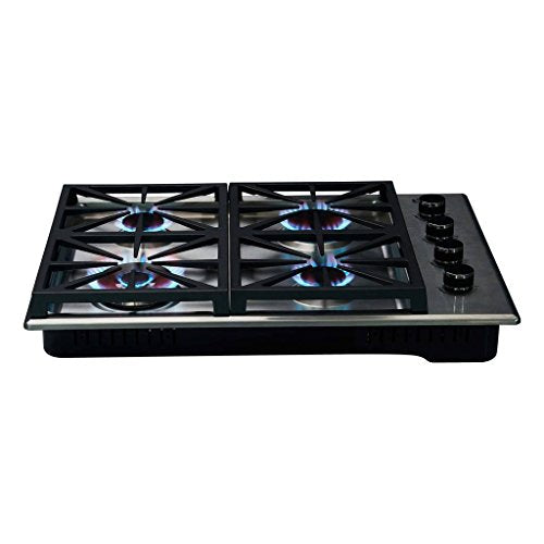 BURNTOUCH high-tech intelligent knob control 30-inch gas stove cooktop stainless steel kitchen appliance (4-burners) (Natural Gas)