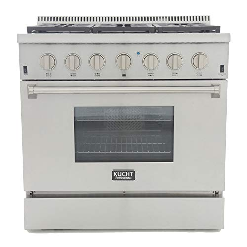 "Kucht KRD366F/LP KRD366F/LP-S Professional 36"" 5.2 cu. ft. Dual Fuel Range for Propane Gas, Stainless-Steel, Classic Silver"