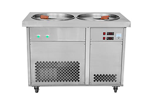 Commercial 2 Square Pans Thai Fry ice Cream Machine,ice Cream roll, Frozen Yogurt Machine,