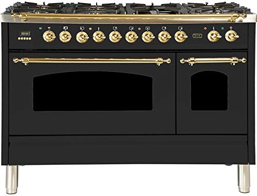 Ilve UPN120FDMPM Nostalgie Series 48 Inch Dual Fuel Convection Freestanding Range, 7 Sealed Brass Burners, 5 cu.ft. Total Oven Capacity in Matte Graphite, Brass Trim (Natural Gas)