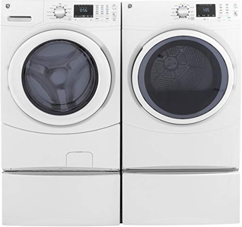 "GE Front Load Speed Wash GFW430SSMWW 27"" Washer with GFD43ESSMWW 27"" Electric Dryer and 2x SBSD137HWW Pedestal Laundry Pair in White"