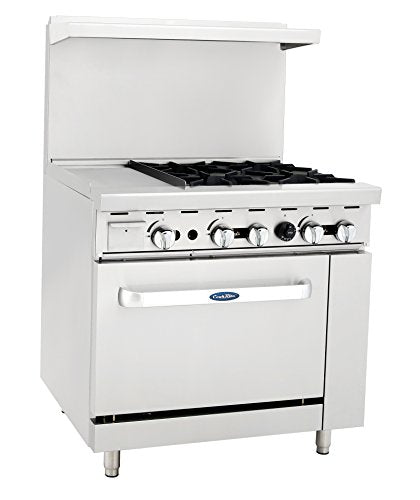 "Atosa ATO-12G4B NAT GAS 36"" Gas Range 4 Burners 12'' Griddle with 26"" Stove ETL"