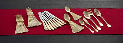 Mikasa 5183587 Mila Gold Plated 45-Piece Stainless Steel Flatware Set with Serveware, Service for 8