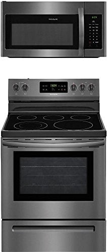 "Frigidaire 2-Piece Black Stainless Steel Kitchen Package with FFEF3054TD 30"" Freestanding Electric Range and FFMV1645TD 30"" Over-the-Range Microwave"