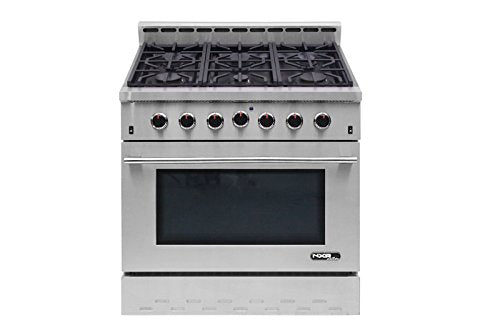 "NXR NK3611 Entree 36"" 5.5 cu. ft. Professional Style Gas Range with Convection Oven, Stainless Steel"