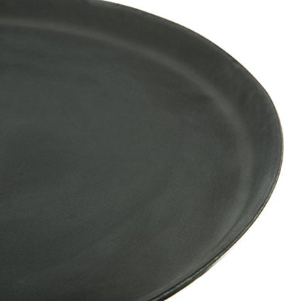 "Carlisle 1400GR004 Griptite Rubber Lined Non-Slip Round Serving Tray, 14"" Diameter, Black (Pack of 12)"