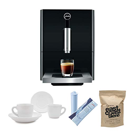 Jura A1 Ultra Compact Coffee Center 15148 with P.E.P. Includes Jura Filter Care Cartridge, Coffee Beans and Set of 2 Ceramic Cups and Saucers