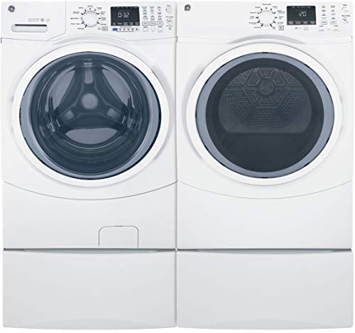 "GE Front Load Steam GFW450SSMWW 27"" Washer with GFD45ESSMWW 27"" Electric Dryer and 2x SBSD137HWW Pedestal Laundry Pair in White"