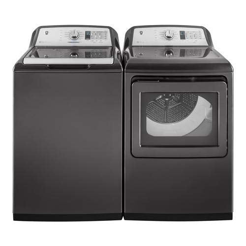 "GE Top Load Smart GTW750CPLDG 27"" Washer with GTD75GCPLDG 27"" Gas Dryer Laundry Pair in Gray"
