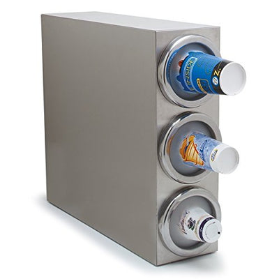 "Carlisle 38883G 18-8 Stainless Steel Vertical Cabinet Cup Dispenser, 3 Dispenser Tubes, 25"" x 7"" x 21-7/8"""