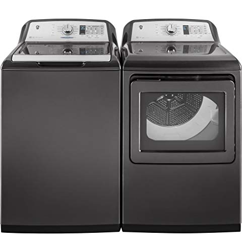 "GE Top Load Smart GTW755CPMDG 27"" Washer with GTD75ECPLDG 27"" Electric Dryer Laundry Pair in Gray"