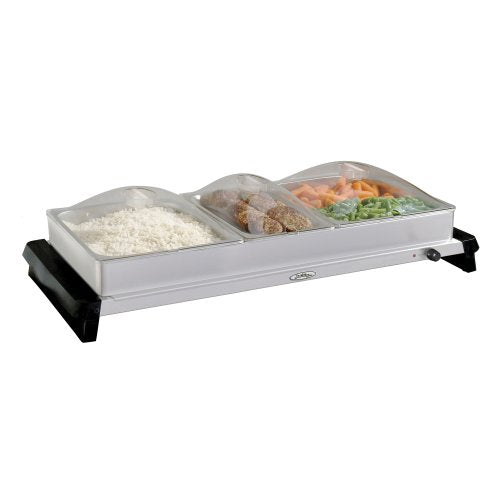 Broil King NBS-3SLP Professional Family-Size Stainless-Steel Buffet Server with Plastic Lids