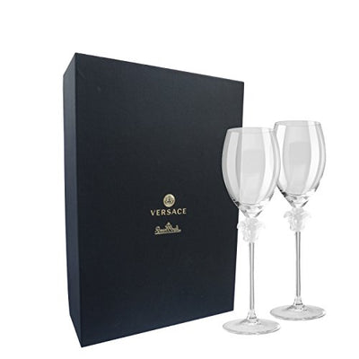 Rosenthal Versace White Wine Glasses Medusa Lumiere – Elegant Crystal Stemware Designed by Gianni Versace – Set of 2 Glasses