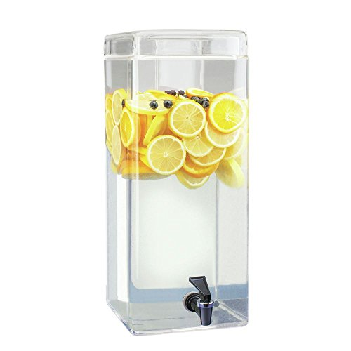 "Cal-Mil 1733-3 Square Glass Infusion Dispenser, 3 gal, 8"" W x 8"" D x 19"" H, Clear"