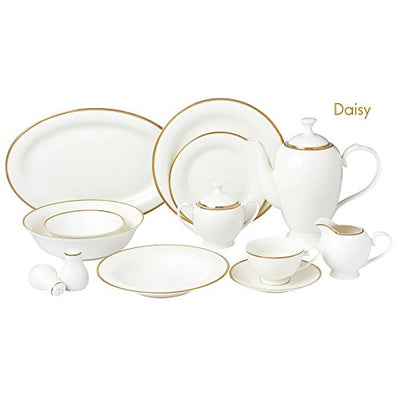 Lorren Home Trends Daisy-57 57 Piece Dinnerware Set-Bone China Service for 8 People-Daisy, One Size, White