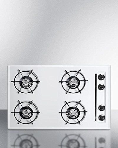 "Summit WNL053 30"""" Built-In Natural Gas Cooktop with Four 9000 BTU Open Burners Electronic/Gas Spark Ignition Recessed Top Porcelain Enameled Steel Grates and Porcelain Cooking Surface"