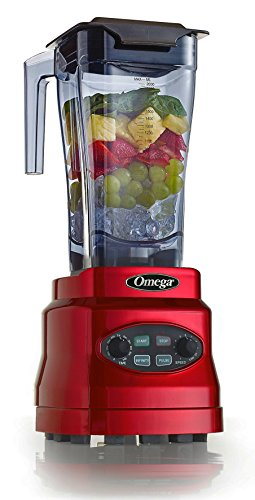 Omega OM7560R 3Hp Blender with 64 oz BPA Free Container Creates Delicious Smoothies Features Stainless Steel Blades & 11-Speeds Includes Plunger & Recipe Book, 1400W, Red