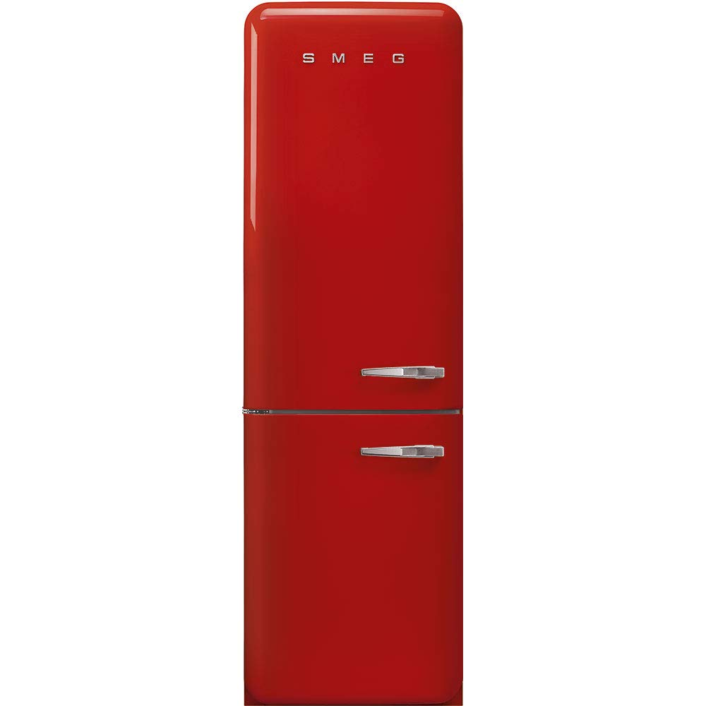 "Smeg FAB32ULRD3 50's Retro Style Aesthetic 24"" 50'S Style Refrigerator With Automatic Freezer, Red, Left Hand Hinge"