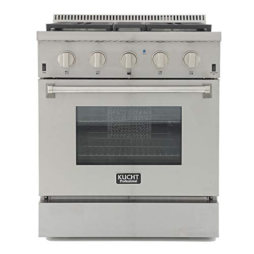 "Kucht KRD306F/LP KRD306F/LP-S Professional 30"" 4.2 cu. ft. Dual Fuel Range for Propane Gas, Stainless-Steel, Classic Silver"