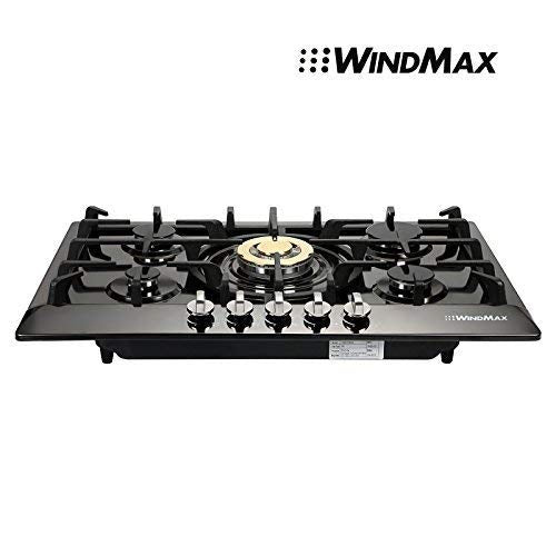 WindMax 30 inch Black Titanium Plated Stainless Steel Golden Burner Built-In 5 Stoves NG Natural Gas Cooktops Cook Top Kitchen Cooker