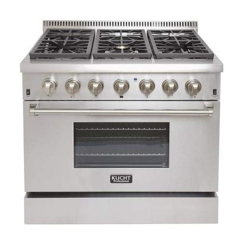 "Kucht KRD366FLP 36"" Professional Liquid Propane Dual Fuel Range with 6 Sealed Burners 5.2 cu. ft. Oven Capacity 4"" Stainless Steel Backsplash Convection and 2 Halogen Lights in Stainless"