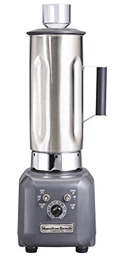 "Hamilton Beach Commercial HBF500S Culinary Blender, 1 hp, Variable Speed, Chop, Jar Pad Sensor, 1.9 L Stainless Container, 21.09"" Height, 8.029"" Width, 8.02"" Length, Grey"