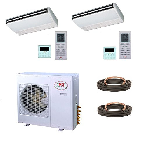 YMGI Dual Zone - 36000 BTU 3 Ton 21 SEER (18K+18K) Floor Ceiling Mount Ductless Mini Split Air Conditioner with Heat Pump for Home, Office, Shops with 25 Ft Lineset Installation Kits