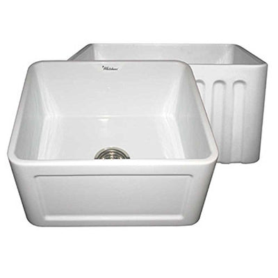 Whitehaus WHFLCON2018 20-Inch Reversible Series Fireclay Sink with Concave Front Apron One Side and Fluted Front Apron on Other