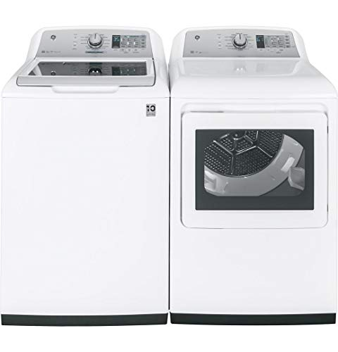 "GE Top Load Smart GTW755CSMWS 27"" Washer with Front Load GTD75ECSLWS Electric Dryer Laundry Pair in White"