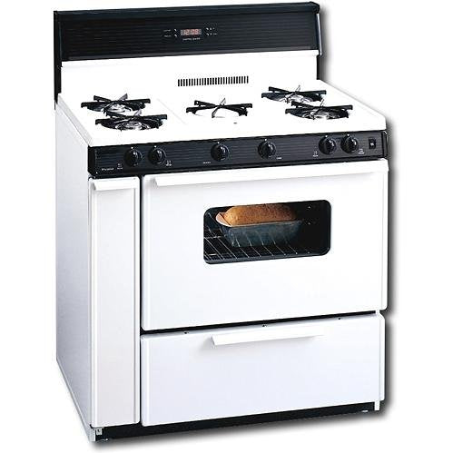 "Premier SLK249WP White 36"" Three-Way Top Electronic Spark Gas Range with 3.9 Cu. Ft. Capacity Five Cooktop Burners 10"" Tempered Black Glass with Clock/Timer and Windowed Oven Doo"