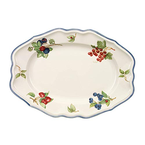 Villeroy & Boch 1011152920 Cottage Oval Platter, 14.5 in, White/Colorful