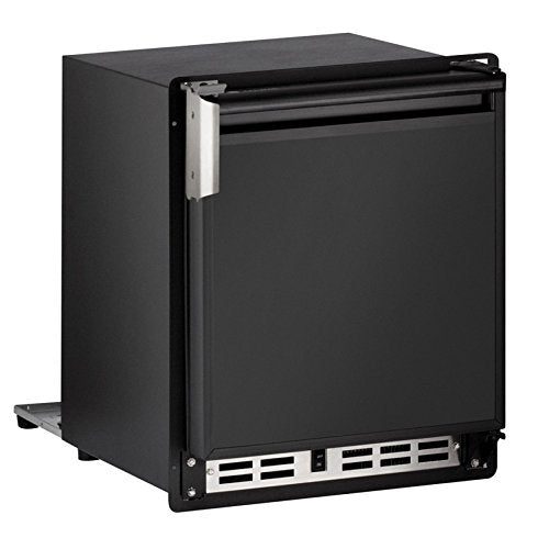 "U-Line ULNSP18FCB03A Marine/RV 15"" Black Undercounter Built-In Ice Maker - Energy Star - Right Hinge"