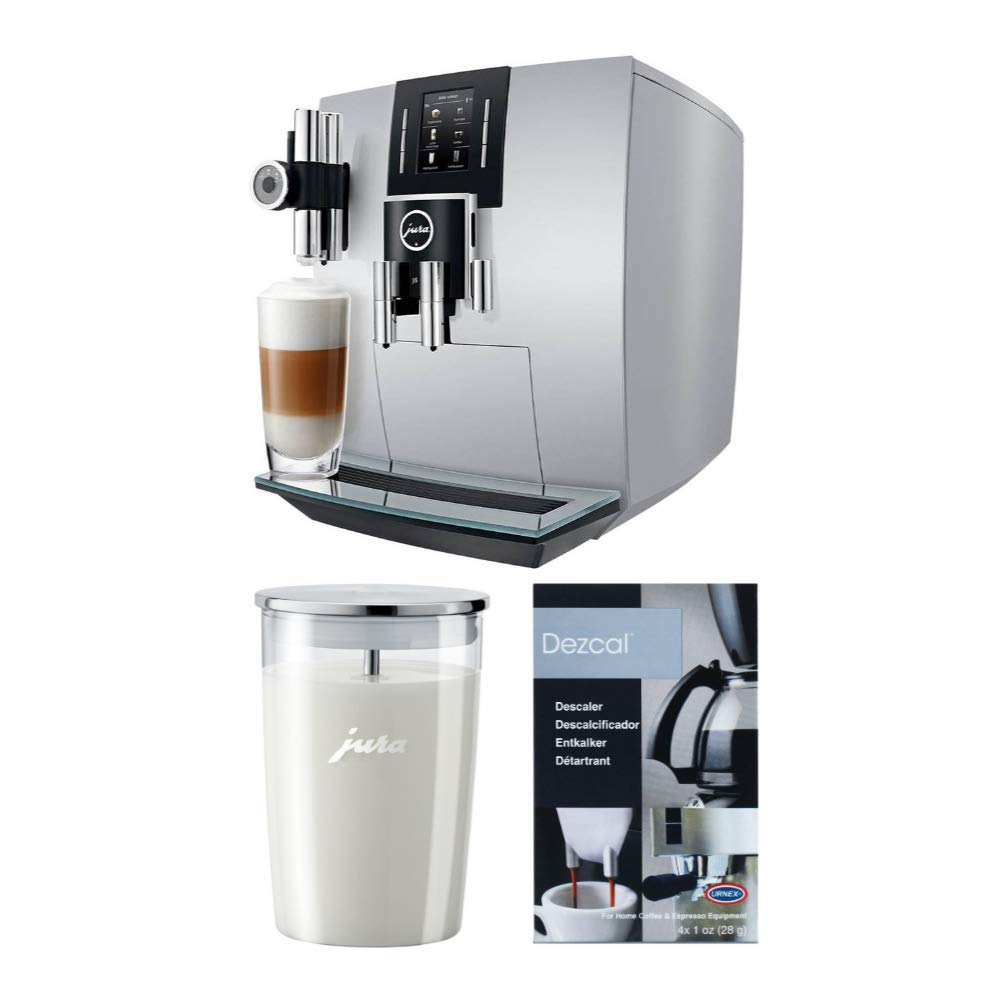 Jura 15150 J6 Coffee Machine, Brilliant Silver Bundle Includes Glass Milk Container and Espresso Machine Descaling Powder (3 Items)