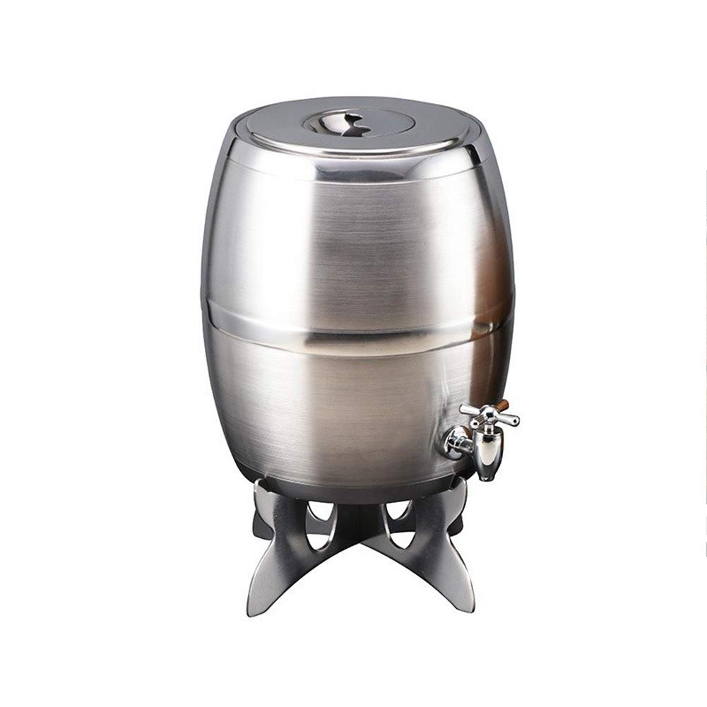 CHEN-S Wine Chiller Bucket - Insulated Wine Cooler/Champagne Bucket, Bar Beer Barrel Stainless Steel Beer Barrel Fresh Beer Barrel Draft Beer Cannon Barrel Wine Barrel Double Wood Grain with Faucet C