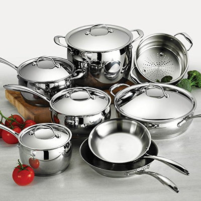 Tramontina 80102/202DS Gourmet Domus Stainless Steel, Induction-Ready, Impact-Bonded, Tri-Ply Base Cookware Set, 13 Piece, Made in Brazil
