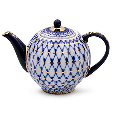 Imperial Porcelain/Lomonosov Porcelain Cobalt Net Tea Set 20 pc. for 6 persons Porcelain Tea Set