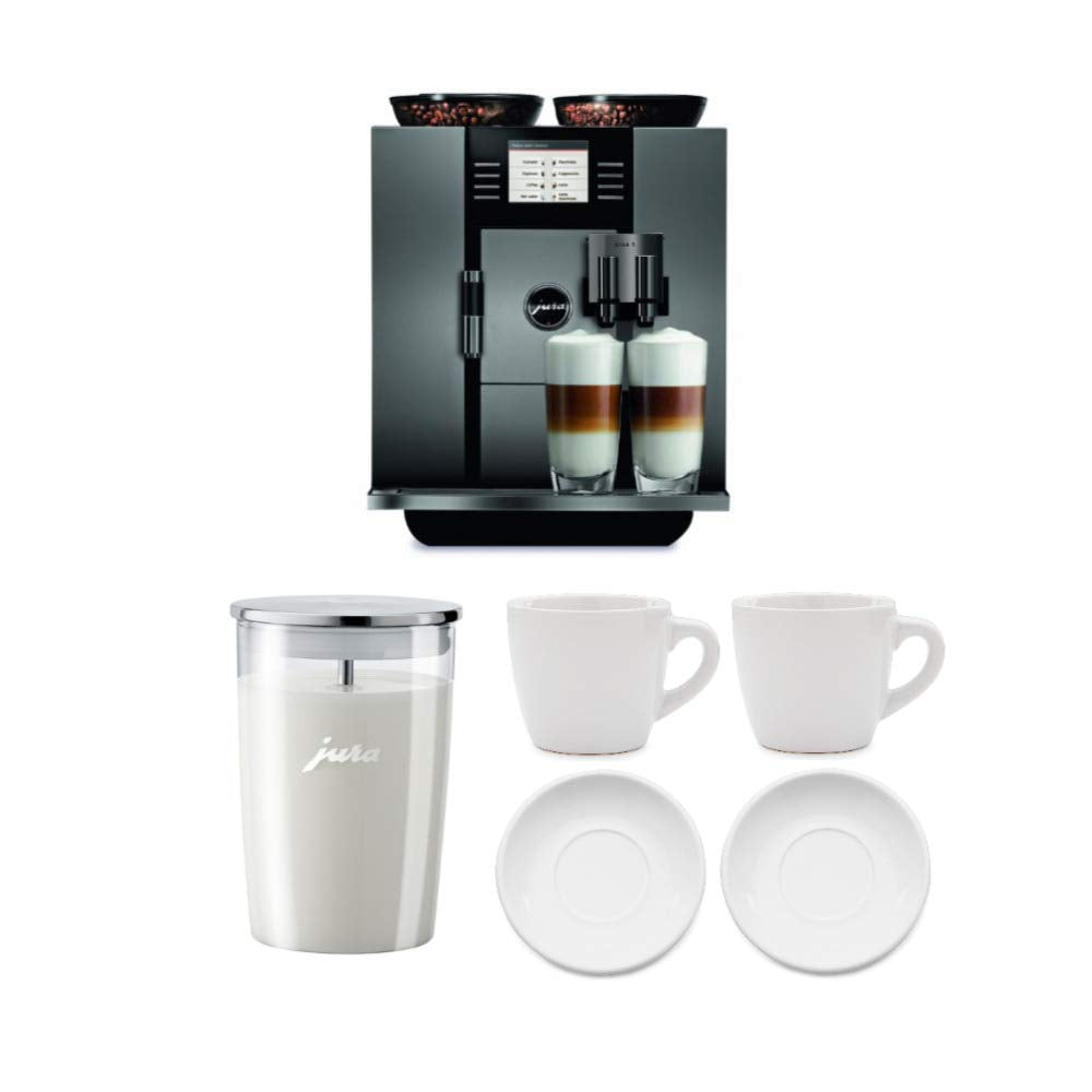 Jura 13623 Giga 5 Automatic Coffee Machine, Aluminum Includes Milk Container and Two Espresso Cups Bundle (Renewed) (4 Items)